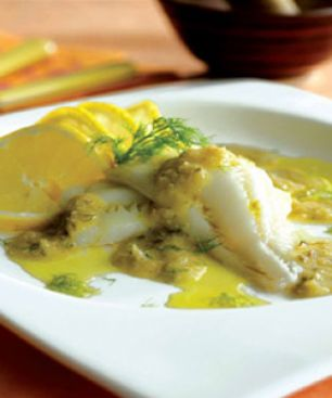 Oven-Poached Filet of Sole with Chios Mastiha Liqueur