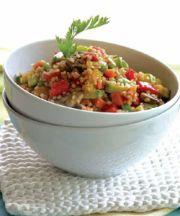 Taboule caliente con verduras y mastiha